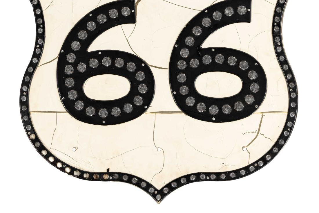 Route 66 Tin Sign With Reflectors - 3