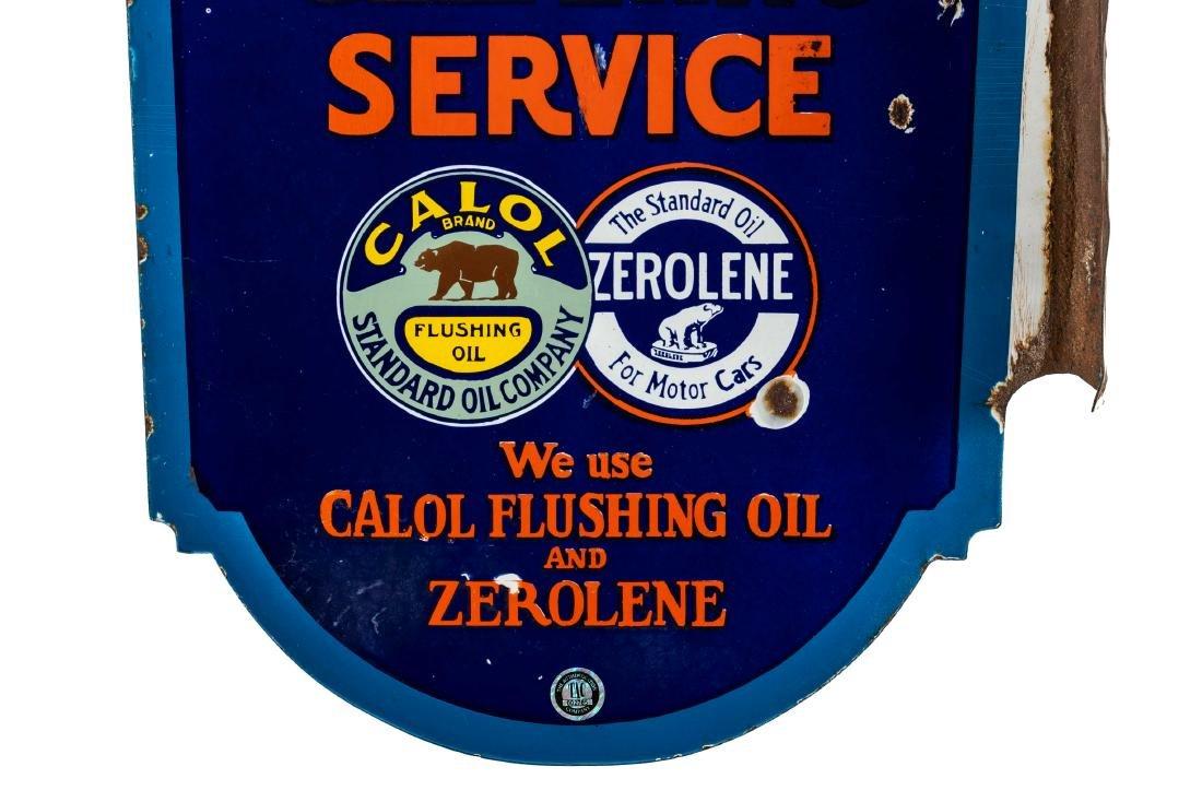 Standard Calol Zerolene Porcelain Flange Sign - 3