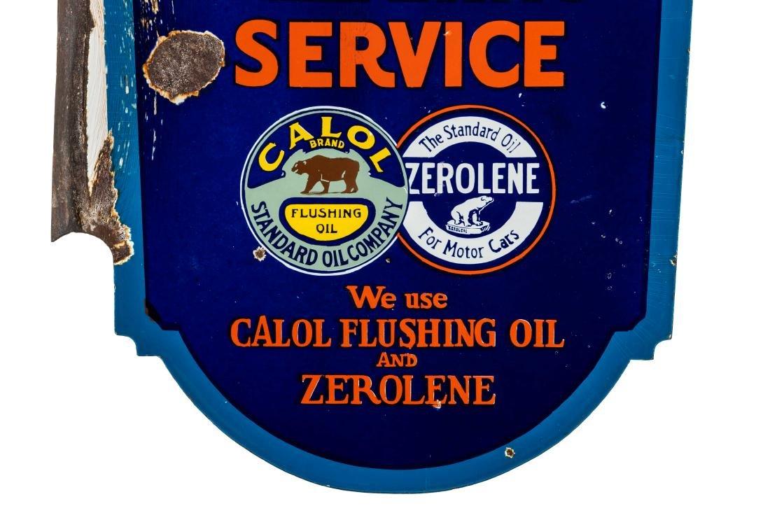 Standard Calol Zerolene Porcelain Flange Sign - 9