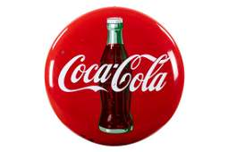 CocaCola Porcelain Button Sign With Bottle