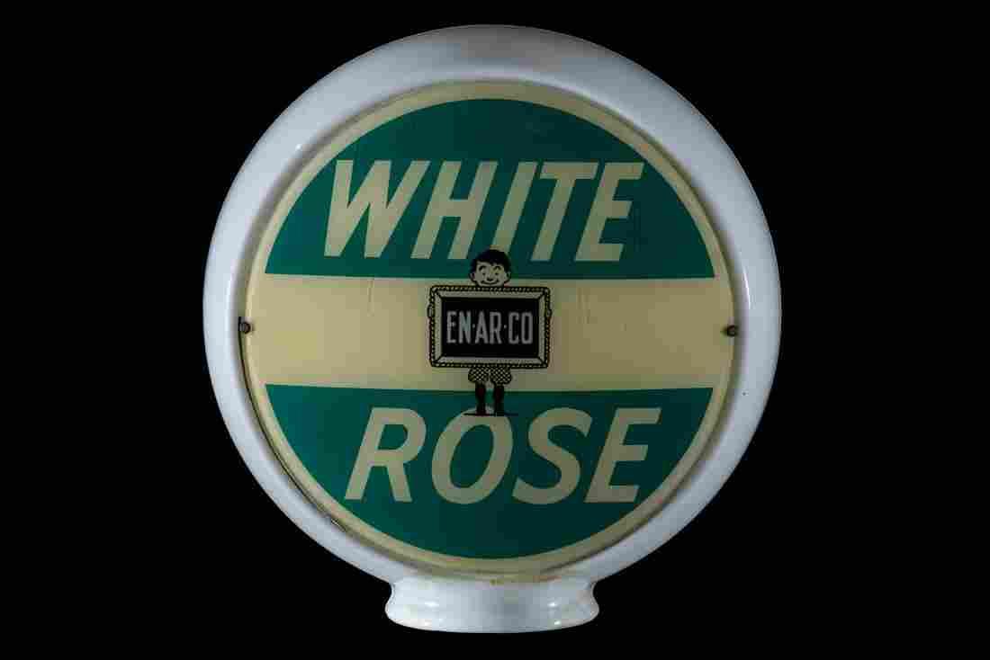 Enarco White Rose Gasoline Gas Pump Globe