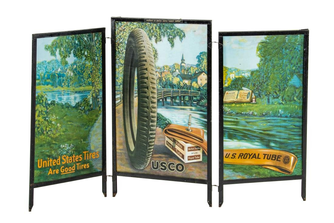 United States Tires Tri-Fold Tin Display