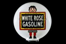 Rare White Rose Gasoline Gas Pump Globe