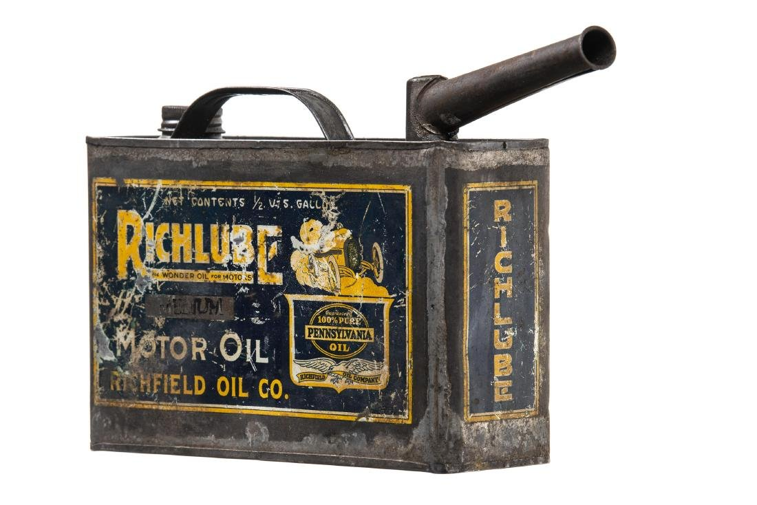 Rare Early Richfield Motor Oil Can - 2
