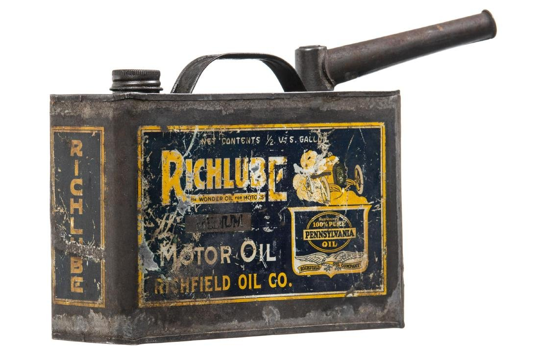 Rare Early Richfield Motor Oil Can - 3