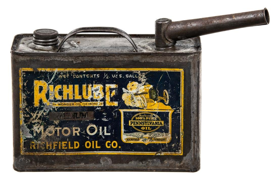 Rare Early Richfield Motor Oil Can - 4