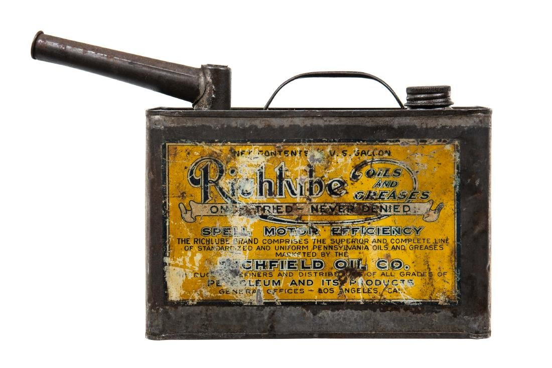 Rare Early Richfield Motor Oil Can - 5