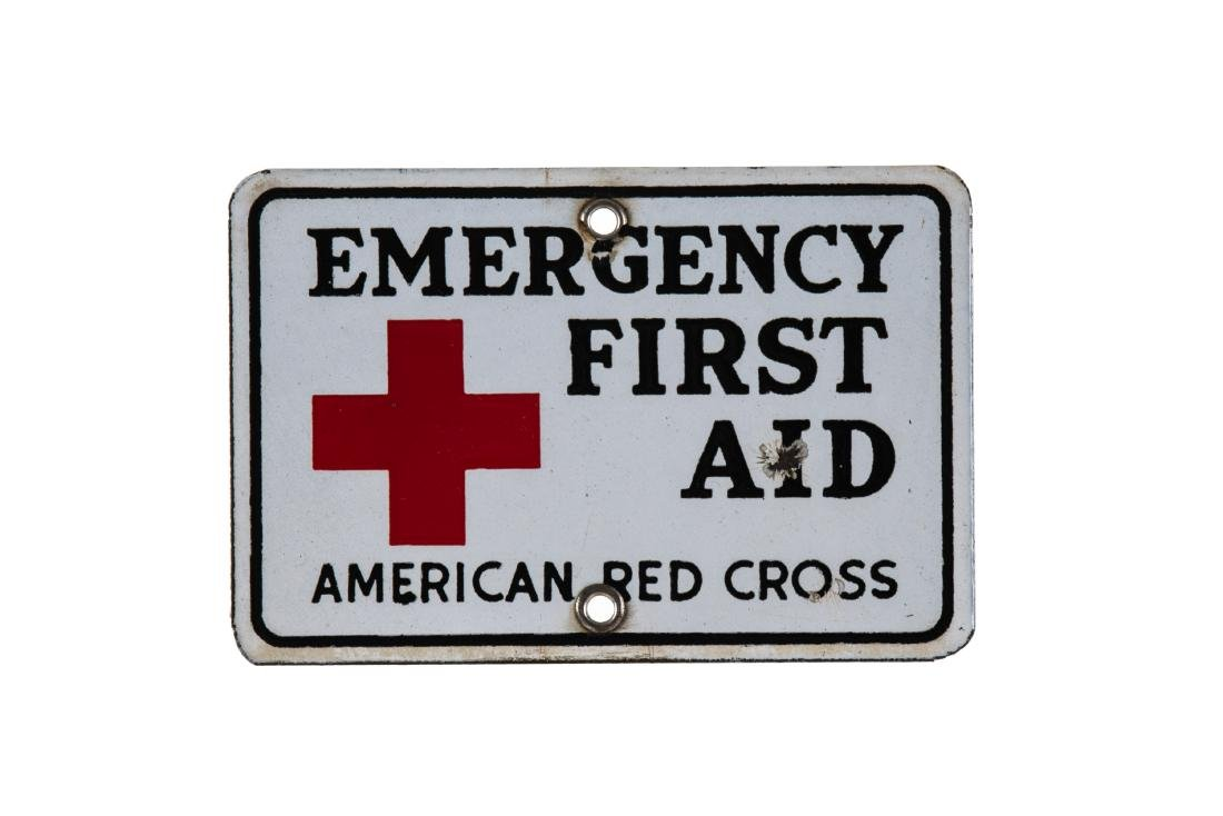 Emergency First Aid Porcelain Sign