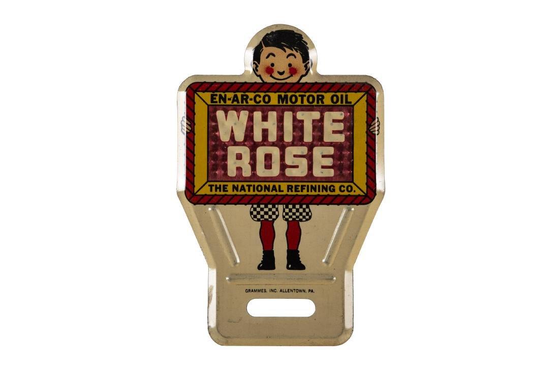 1930's Enarco White Rose License Plate Topper