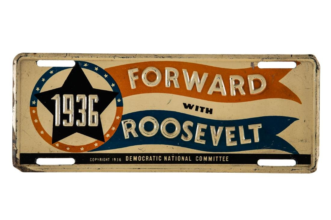 1936 Forward With Roosevelt License Plate Topper