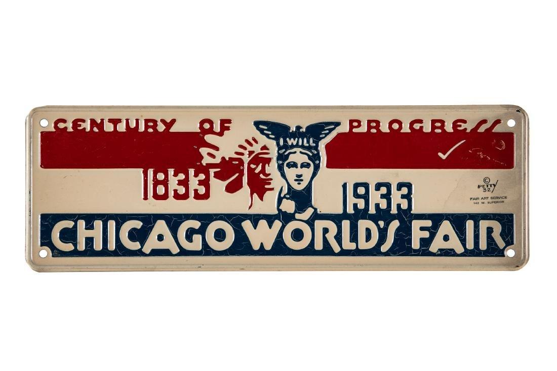 1933 Chicago World's Fair Tin Sign