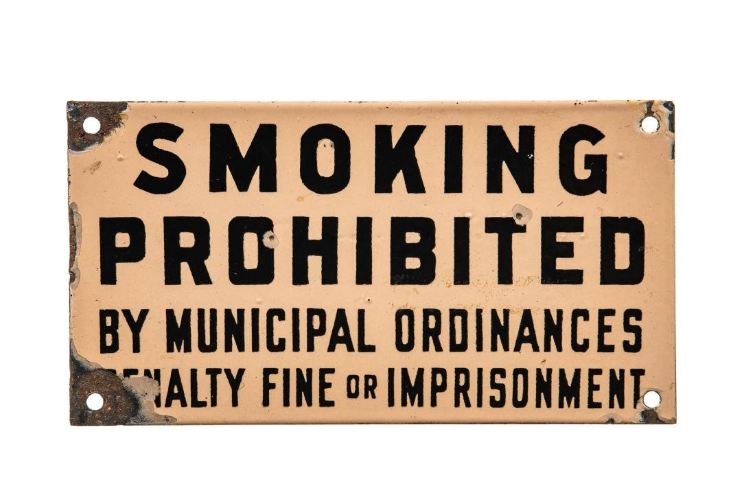 Smoking Prohibited Porcelain Sign
