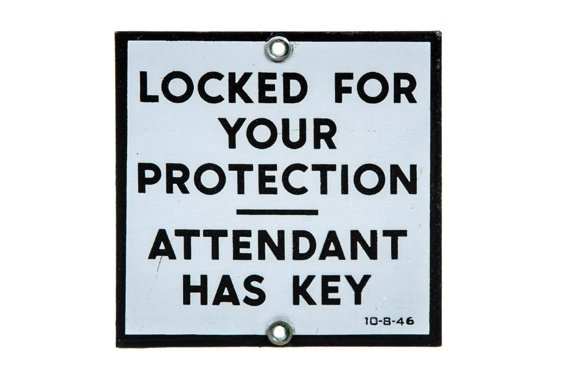 Locked For Your Protection Porcelain Sign