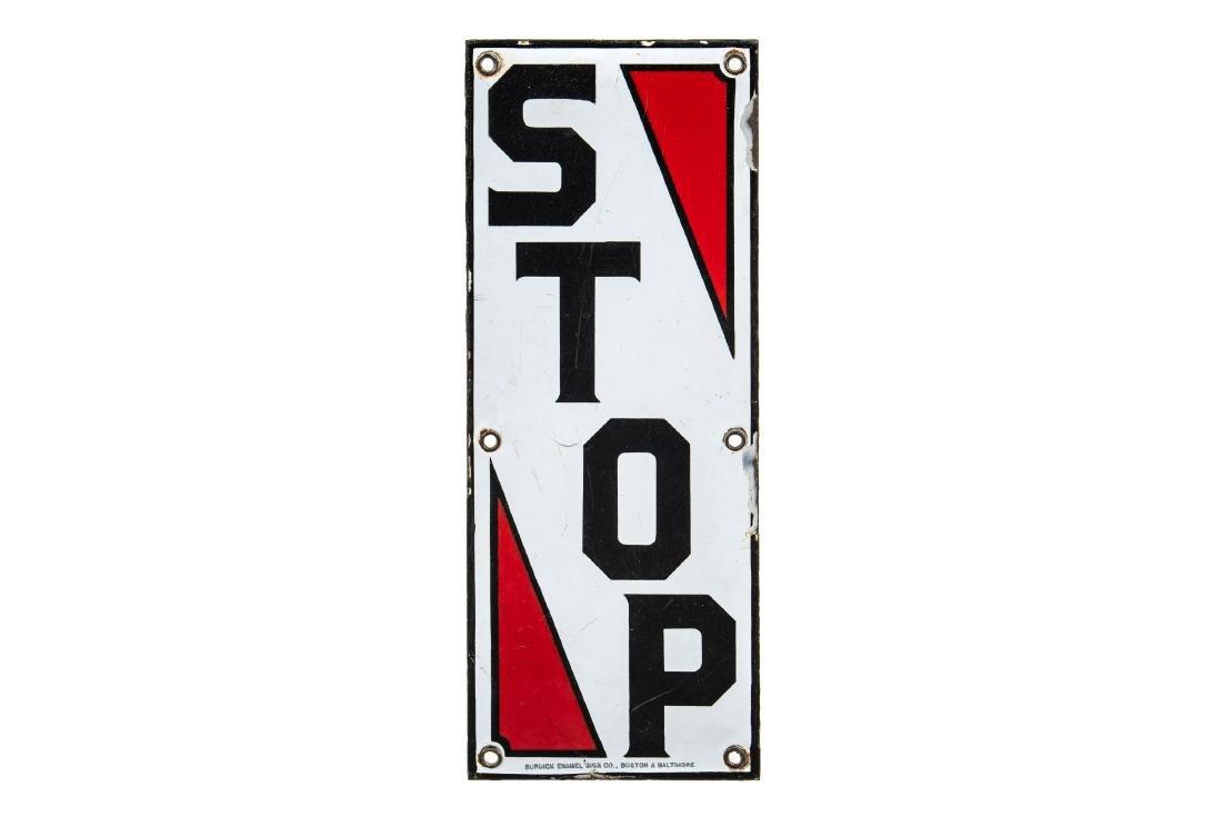 Bay Gasoline Porcelain Stop Sign