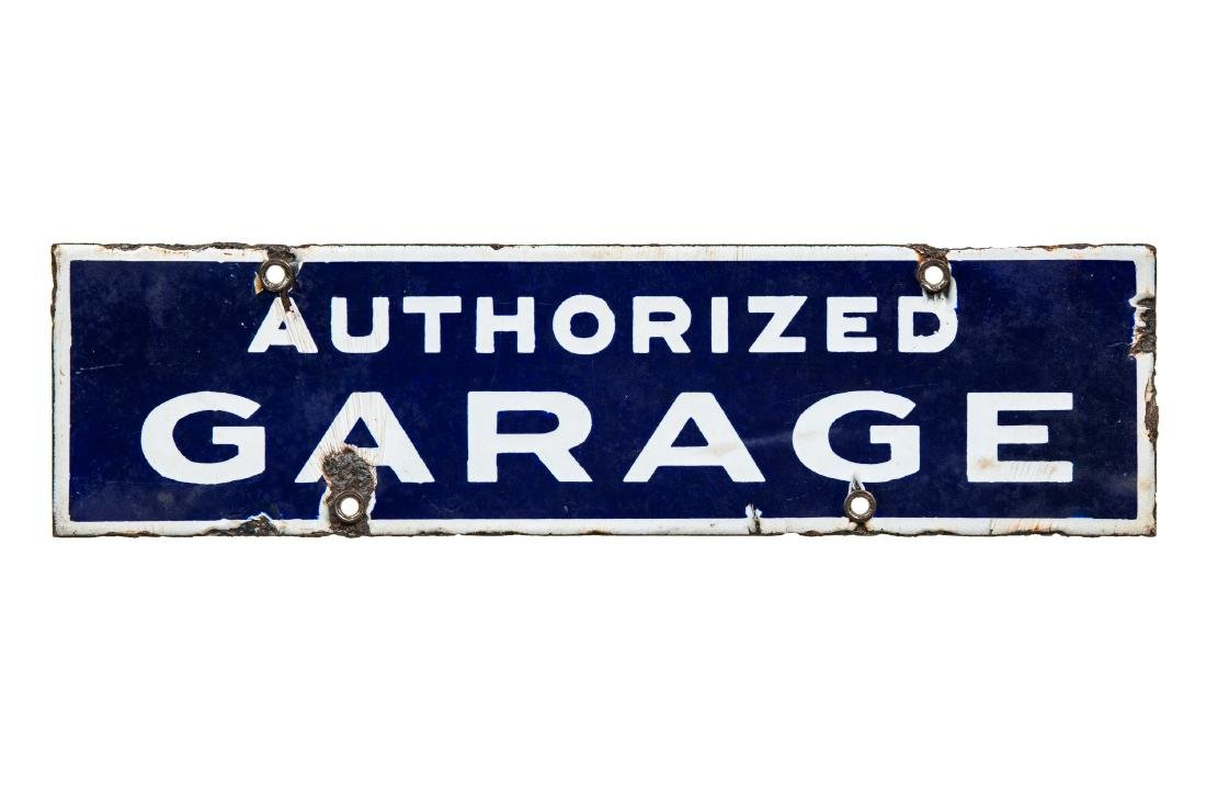 Early Authorized Garage Porcelain Sign - 2