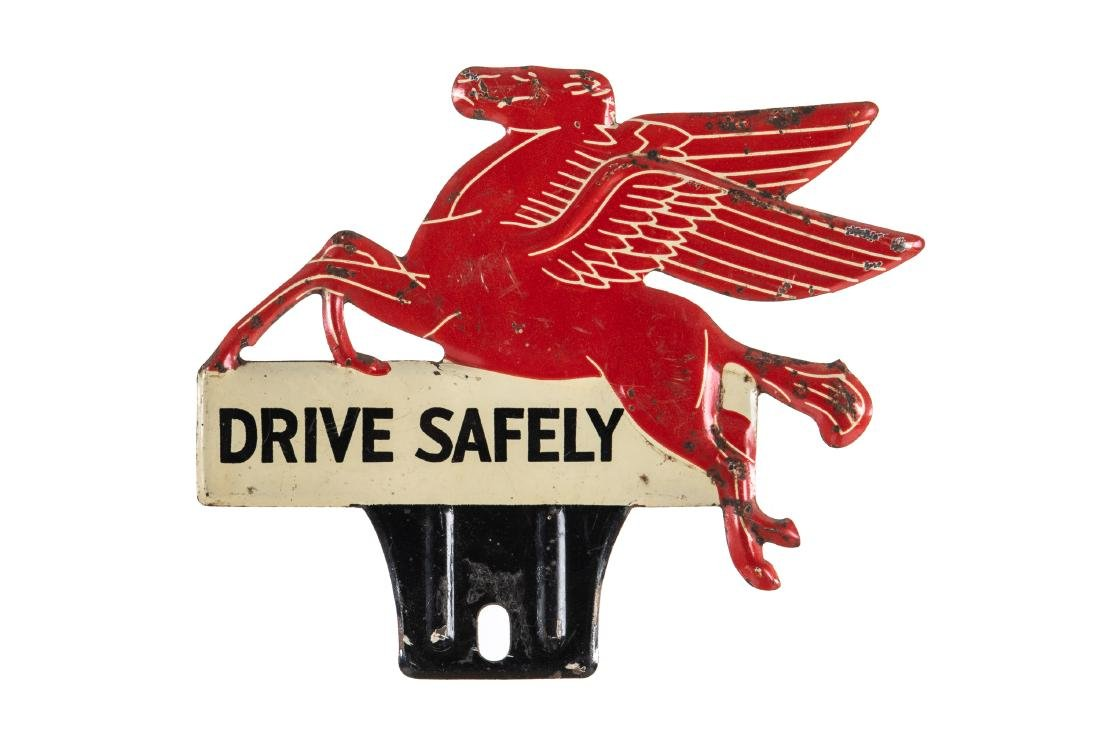 Mobil Drive Safely License Plate Topper