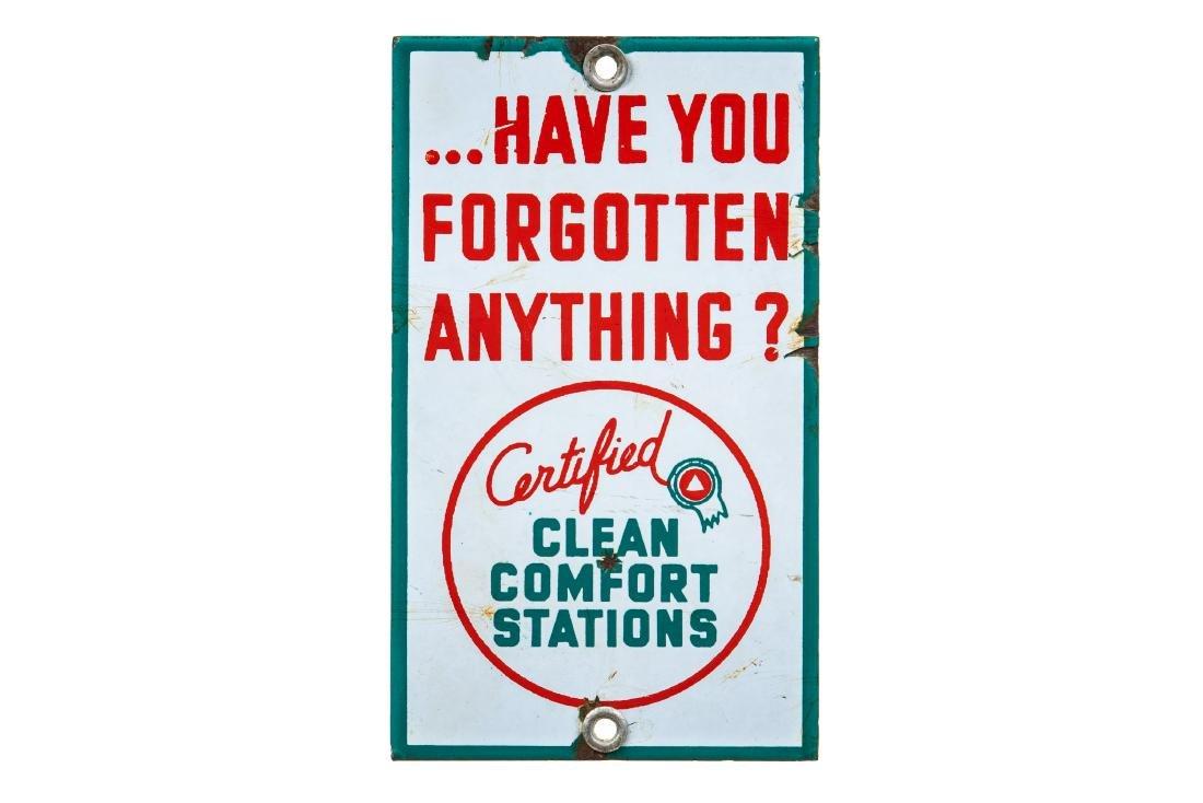 Associated Clean Comfort Stations Porcelain Sign
