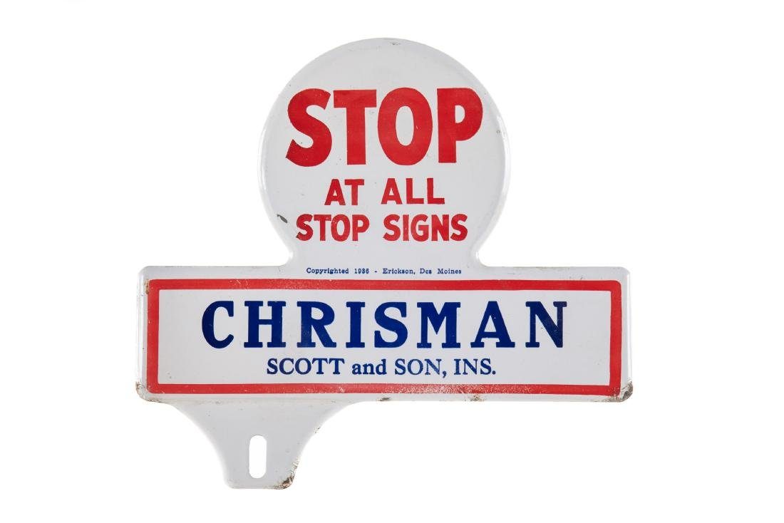 Chrisman Stop At All Signs License Plate Topper
