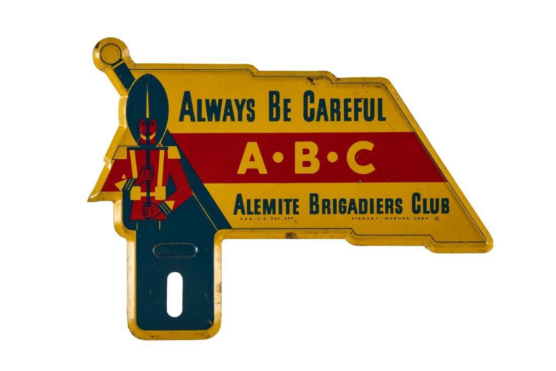 Alemite Brigadiers Club License Plate Topper