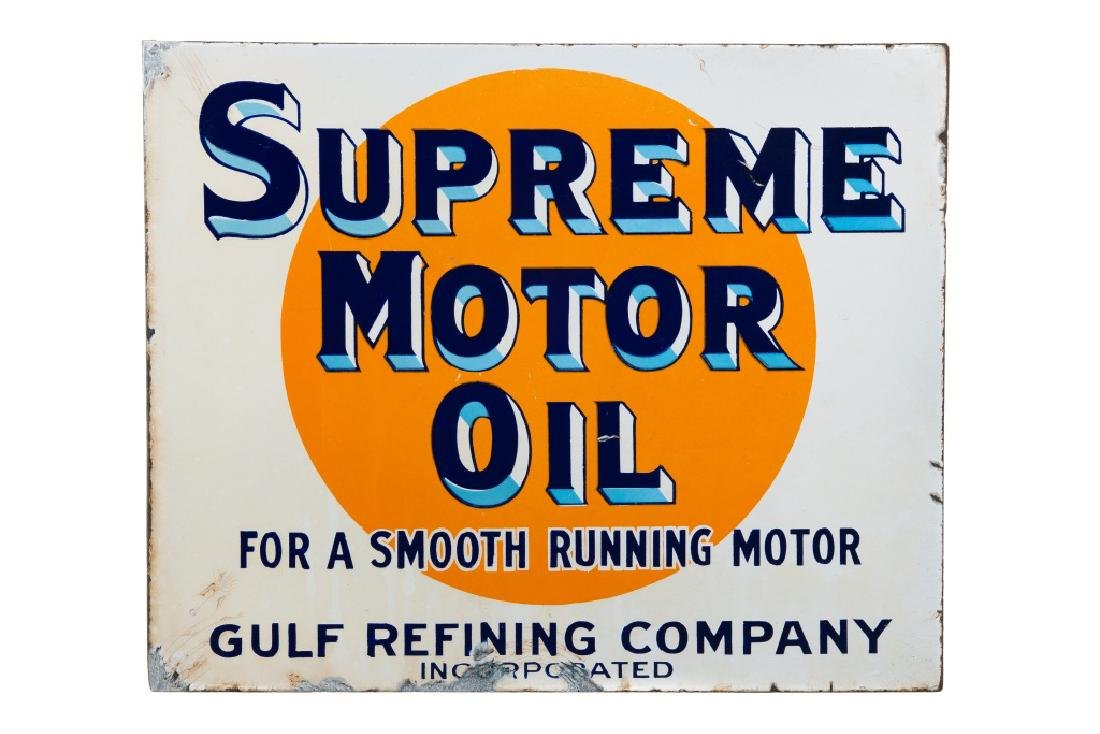 Early Gulf Supreme Motor Oil Porcelain Flange Sign