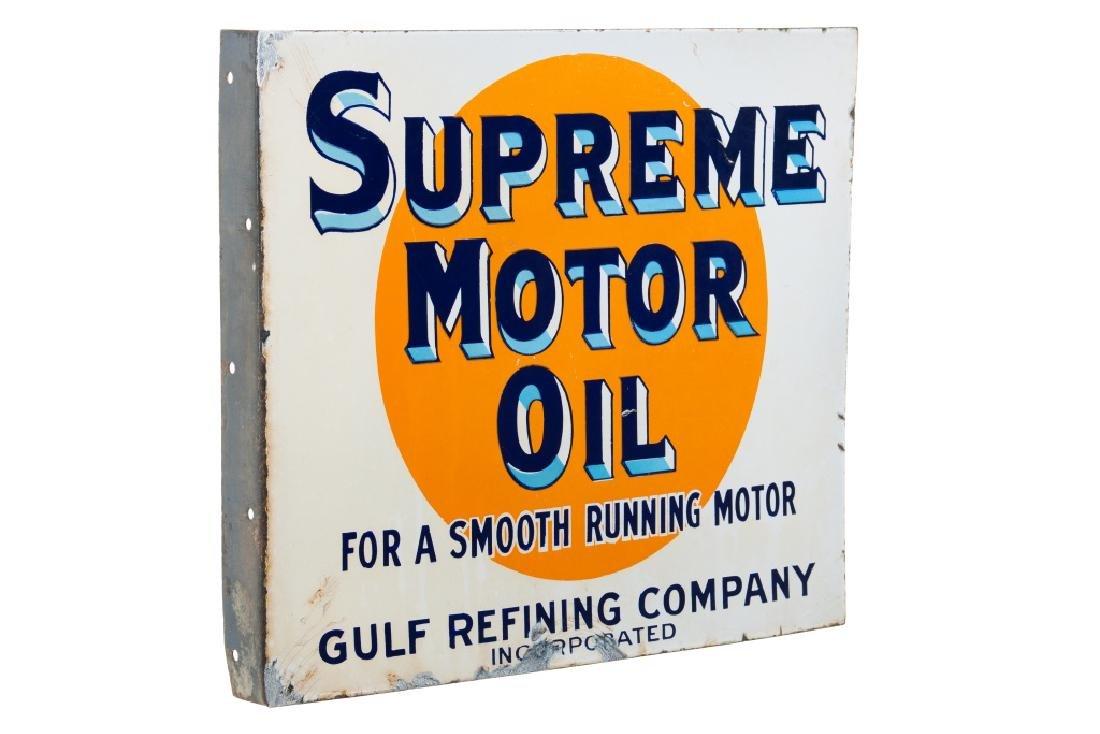 Early Gulf Supreme Motor Oil Porcelain Flange Sign - 2