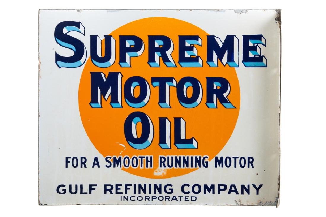 Early Gulf Supreme Motor Oil Porcelain Flange Sign - 3