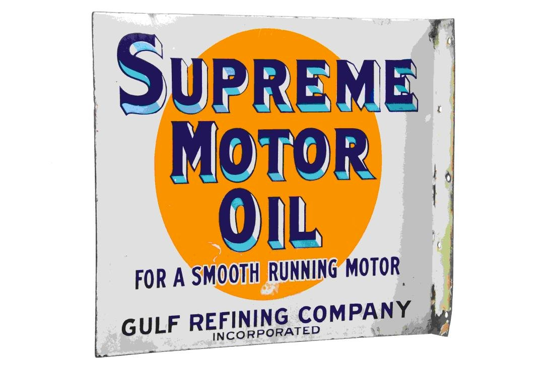 Early Gulf Supreme Motor Oil Porcelain Flange Sign - 4