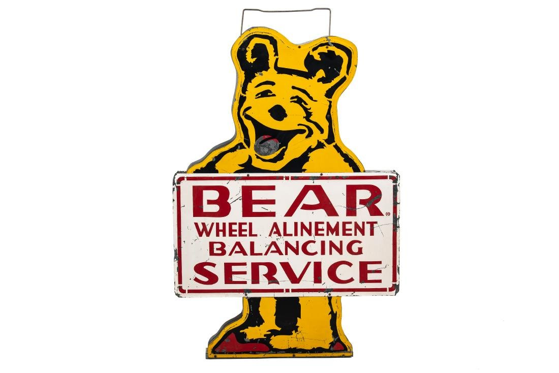 Bear Wheel Alinement Diecut Tin Sign
