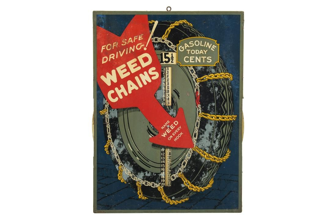 Early Weed Chains Gas Today Tin Sign