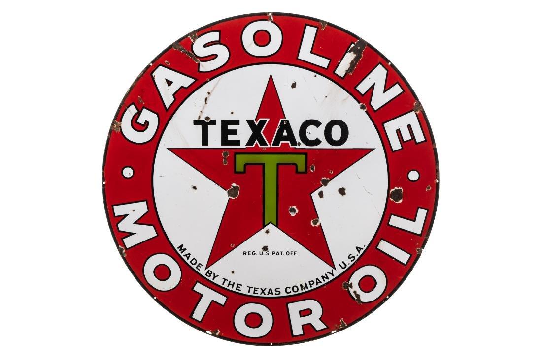 Texaco Gasoline-Motor Oil Porcelain Sign