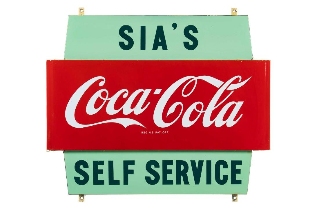 Sia's Coca Cola Self Service Porcelain Sign