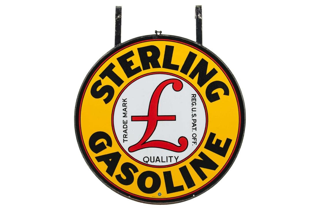 Sterling Gasoline Porcelain Sign In Frame