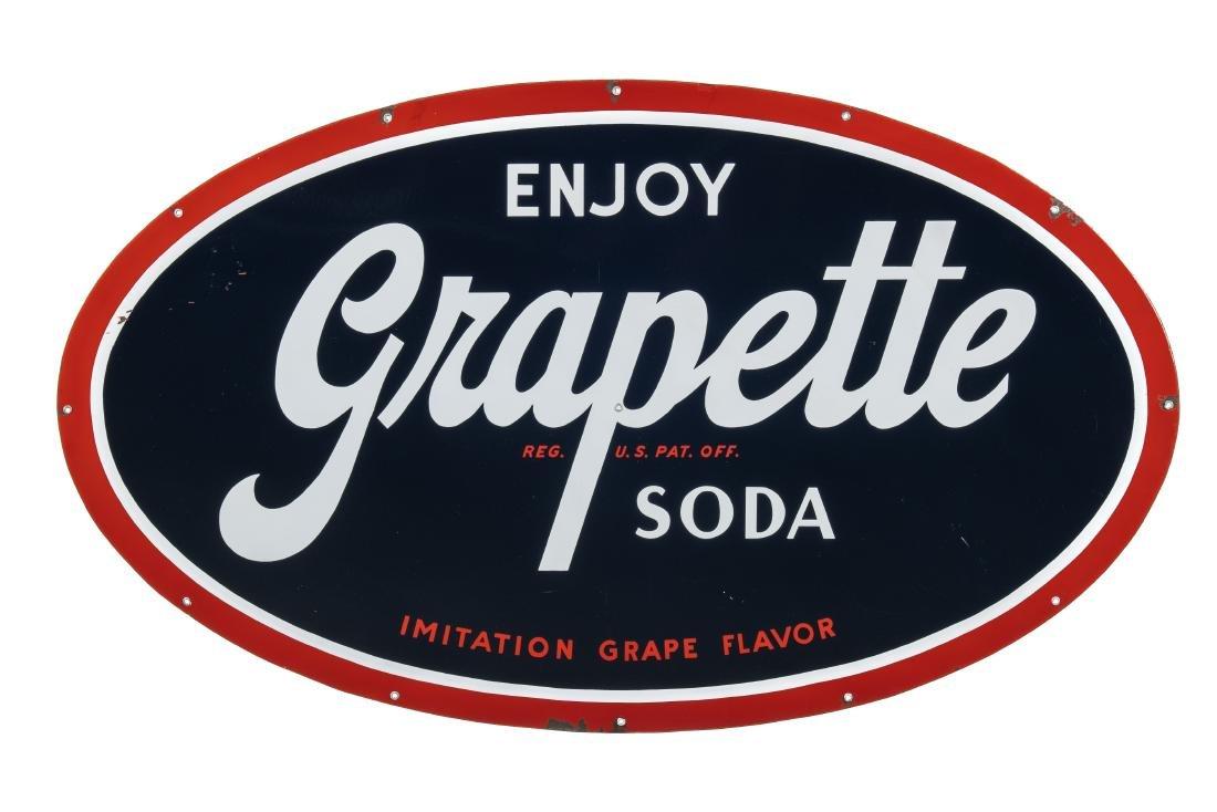 Rare Grapette Porcelain Sign