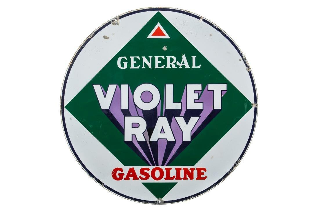 General Violet Ray Gasoline Porcelain Sign