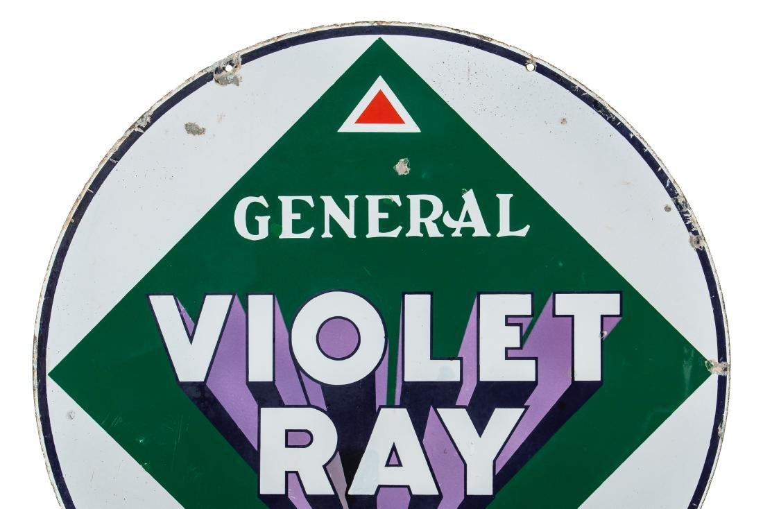 General Violet Ray Gasoline Porcelain Sign - 2