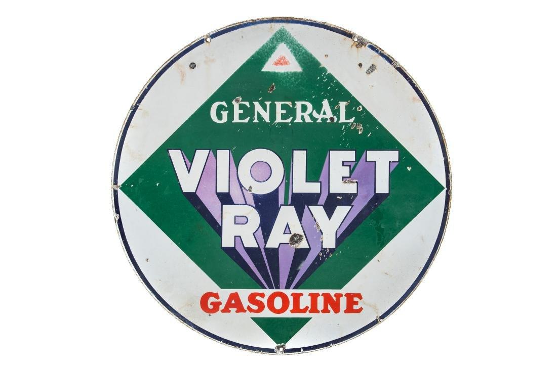 General Violet Ray Gasoline Porcelain Sign - 4