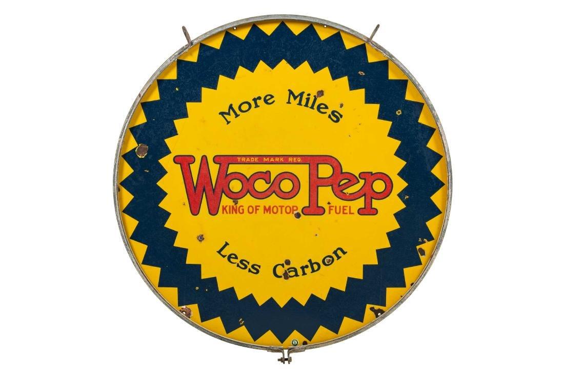 Woco Pep More Miles Less Carbon Porcelain Sign