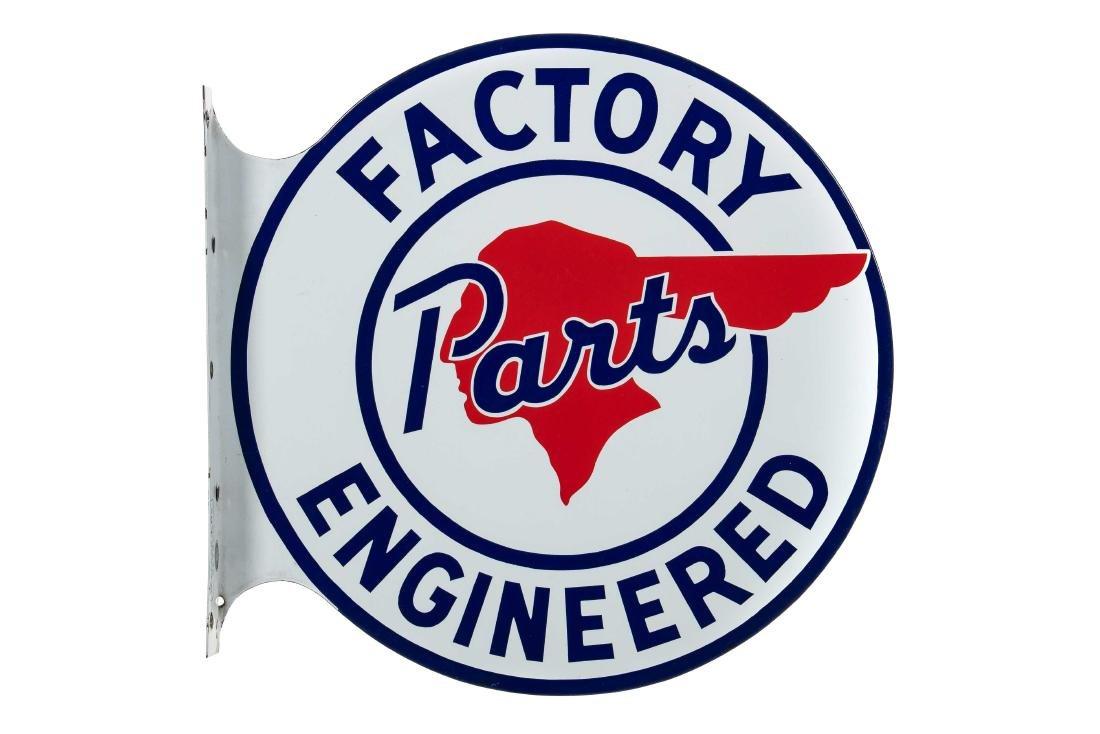 Pontiac Factory Parts Porcelain Flange Sign