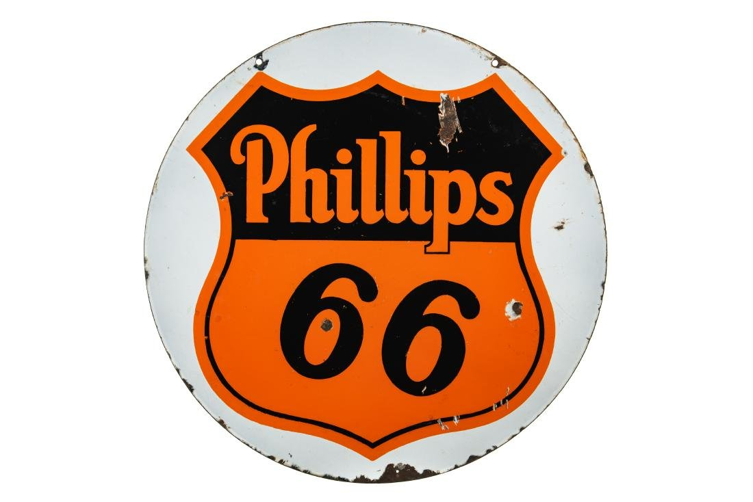 Phillips 66 Porcelain Curb Sign White Background