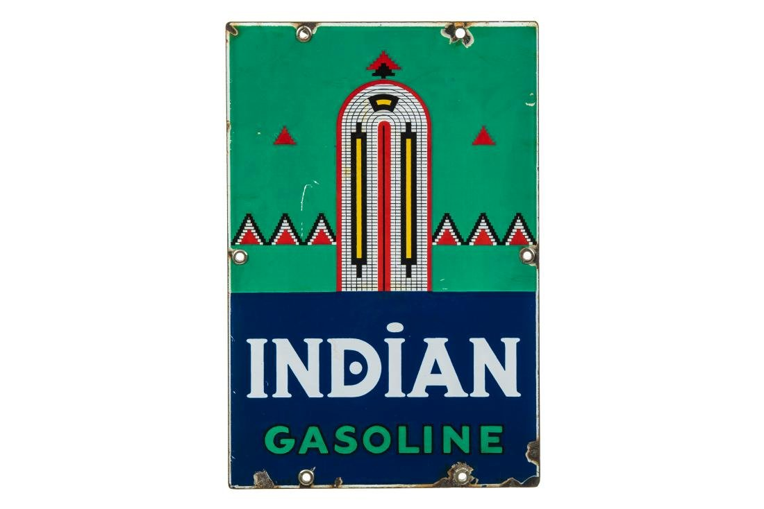 Indian Gasoline Porcelain Gas Pump Sign