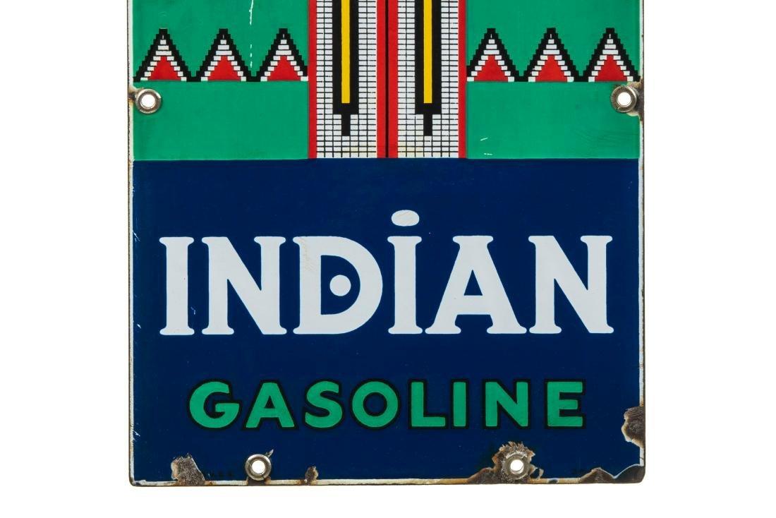 Indian Gasoline Porcelain Gas Pump Sign - 3