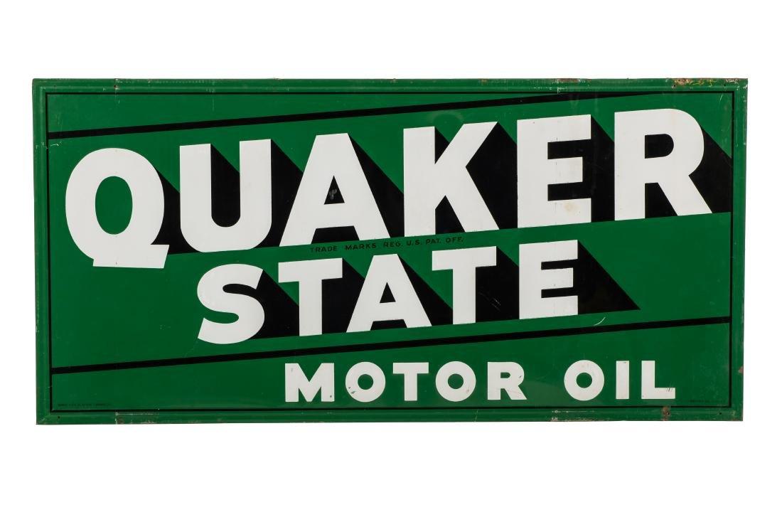Quaker State Motor Oil Horizontal Tin Sign