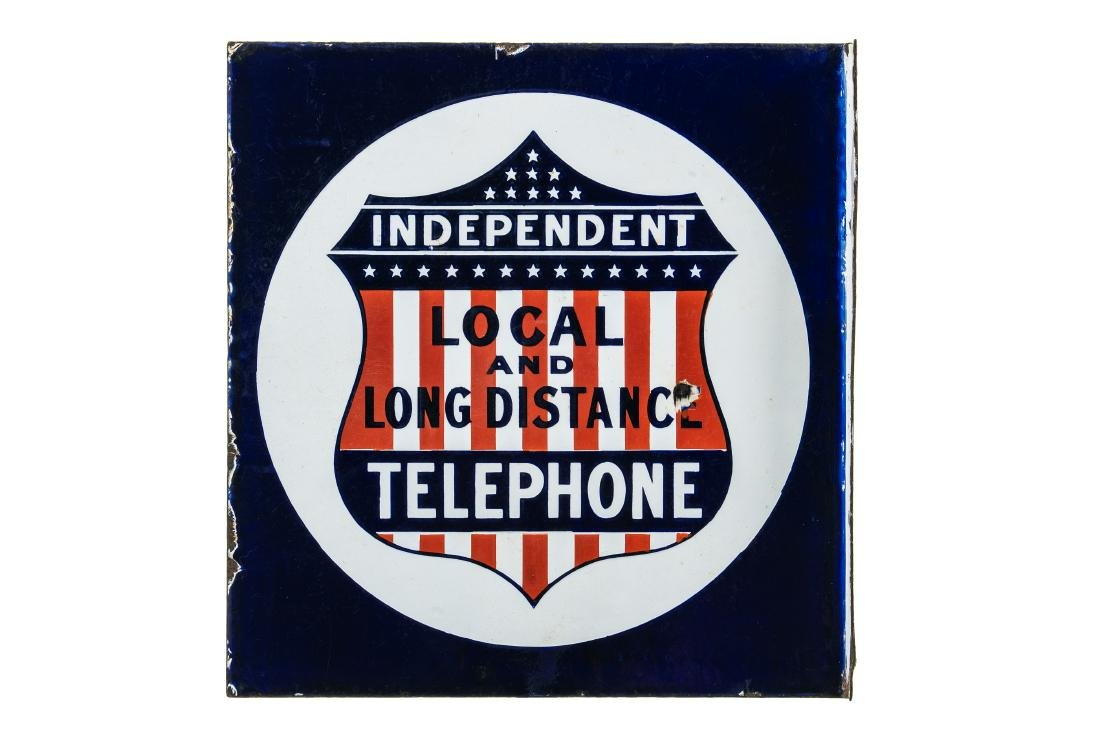 Independant Telephone Porcelain Sign