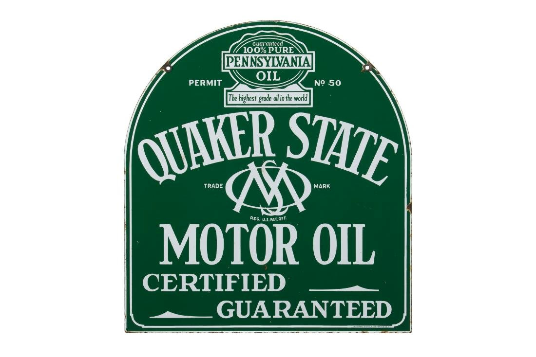 Quaker State Motor Oil Tombstone Porcelain Sign