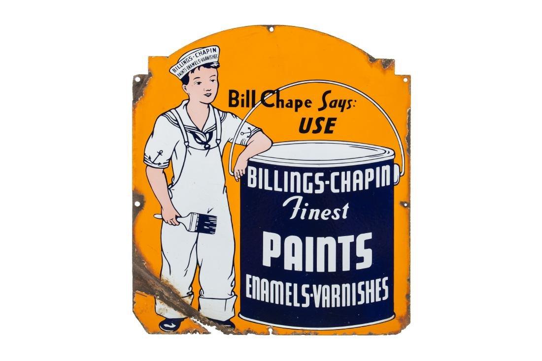 Billings-Chapin Paints Porcelain Sign