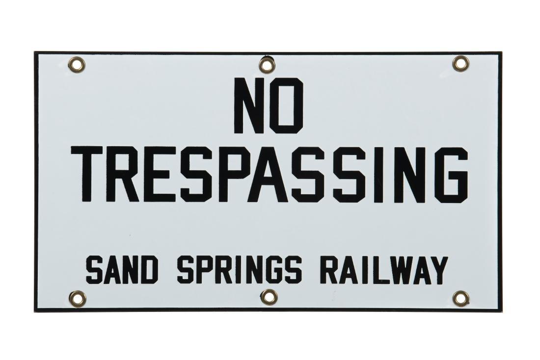 No Trespassing Sand Springs Railway Porcelain Sign