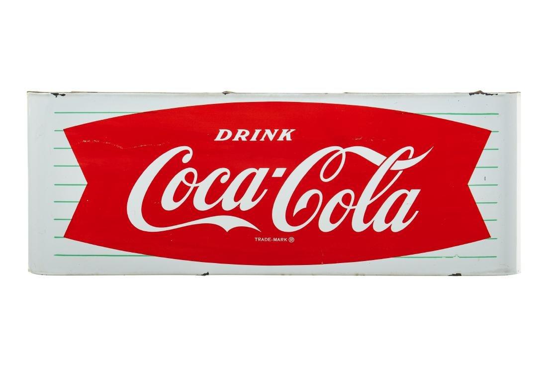 Drink Coca Cola Fishtail Porcelain Sled Sign