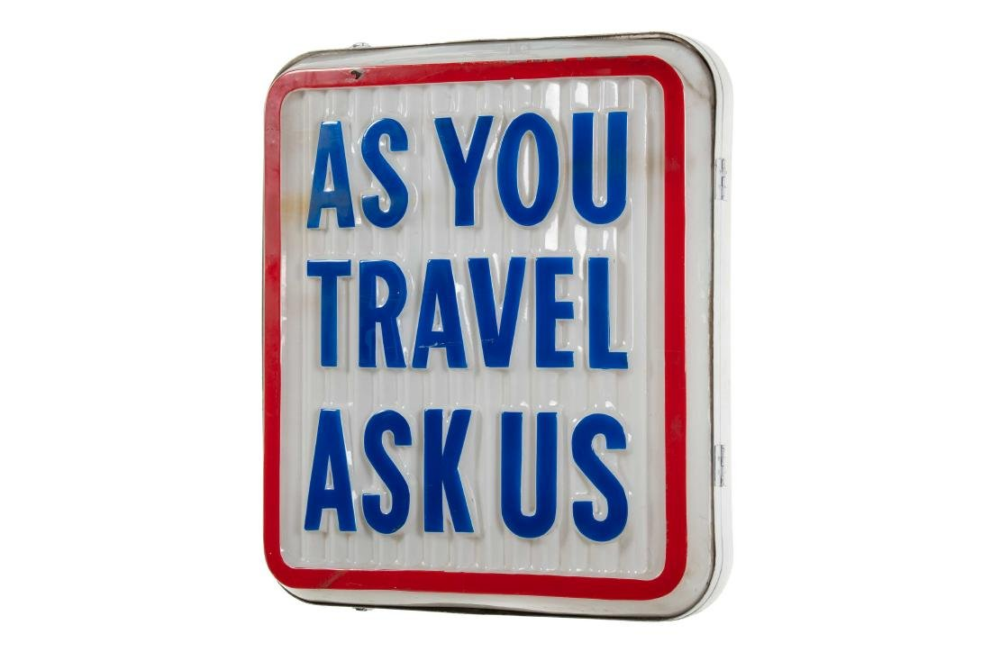 Standard As You Travel Lighted Plastic Sign