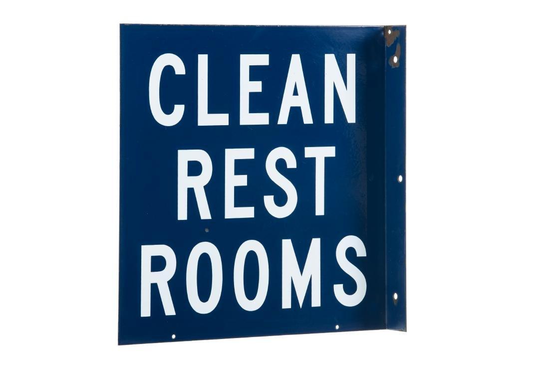 Clean Rest Rooms Porcelain Sign