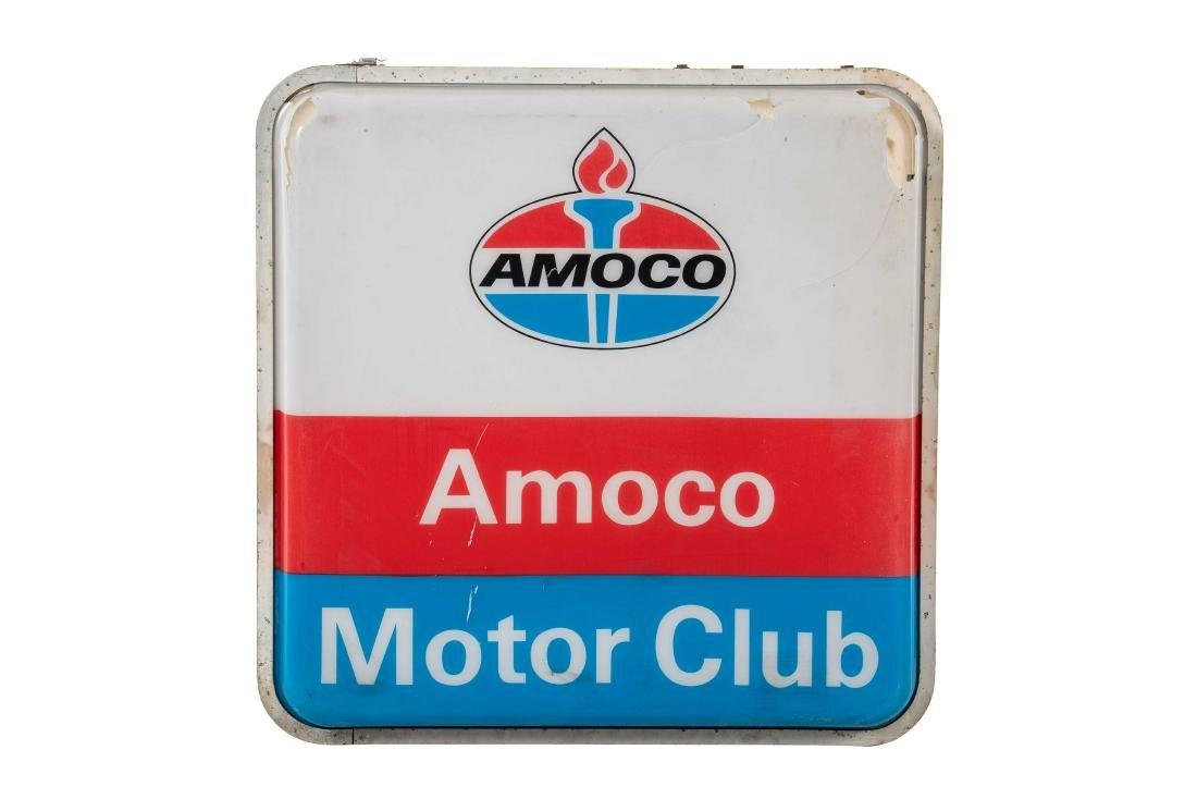 Amoco Motor Club Lighted Plastic Sign